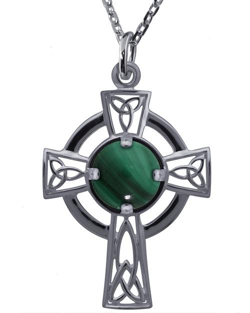 Celtic Cross with Malachite Necklace Pendant