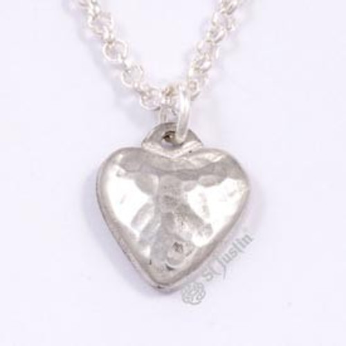 Small Hammered Heart Pendant Necklace