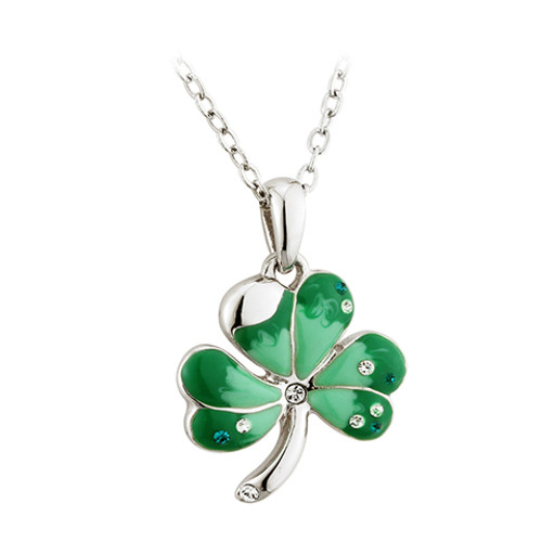 Lucky Green Shamrock Pendant Necklace