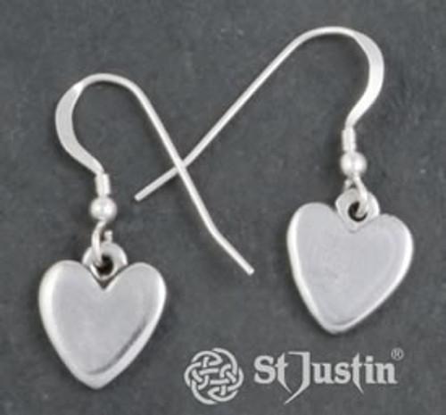 Small Polished Heart Drop Earrings