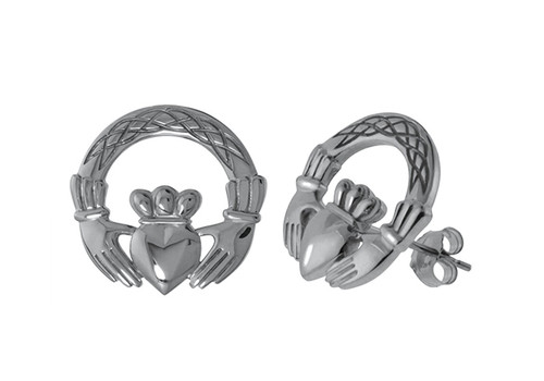 Claddagh with Celtic Weave Stud Earrings