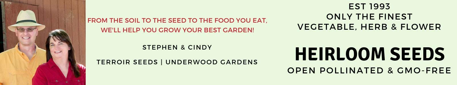 Heirloom vegetable, herb, and flower garden seeds.