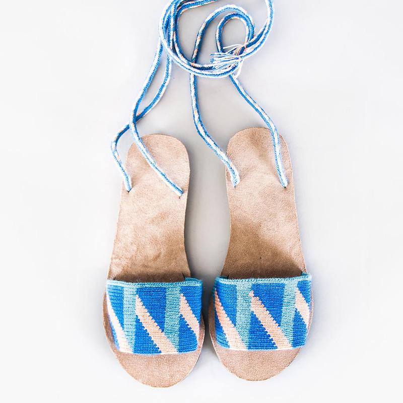 Lace-Up Geometric Sandals