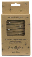 10' Green Wire 30 LED Multi Starlight w Battery Box