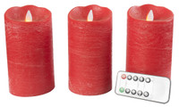 Flameless Red Candle Set 3 Motion with Remote