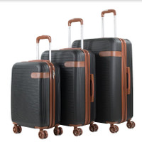 Prima USA Travel Black Brown Luggage Set 3