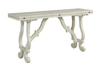 "Coast to Coast 64"" Flip Top Console Table Orchard White Rub"