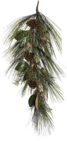 """36"""" ForeverTree Long Needle Pine Teardrop Swag with Cedar, Twigs, Cones, and Magnolia Leaves"""