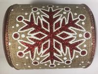 "Ribbon Red Glitter Snowflake on Linen 4"" x 10yd"