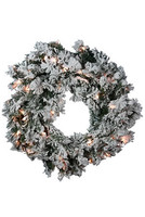 "30"" Prelit Flocked Balsam Wreath"