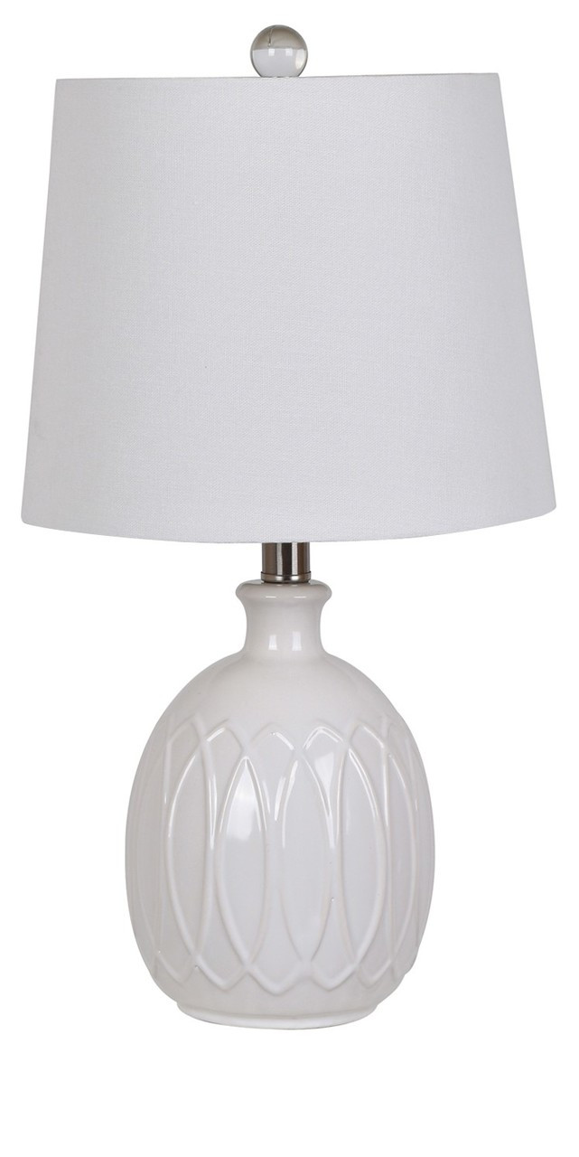 Crestview Ceramic Table Lamp 21 5 White With 3 Way Switch Trees N
