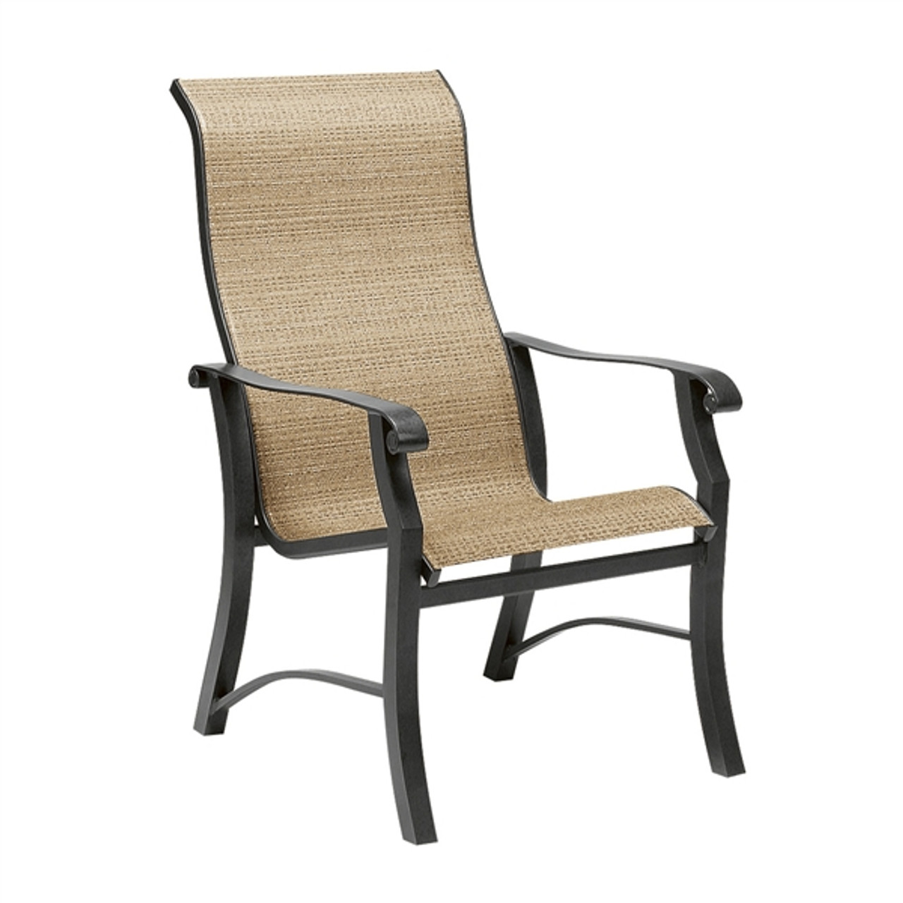 woodard cortland outdoor sling high back dining arm chair