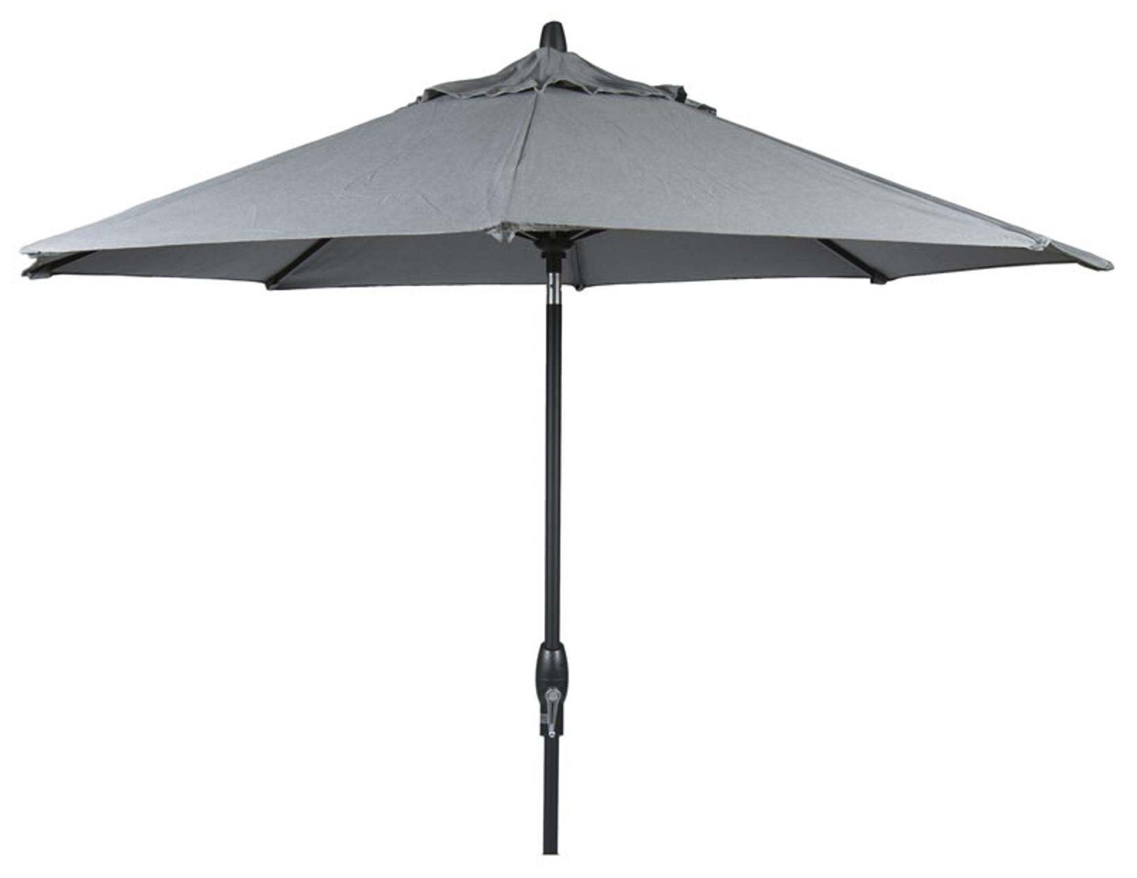 9u0027 Auto Tilt Market Umbrella In Sunbrella Cast Slate   Single Wind Vent    Black Finish