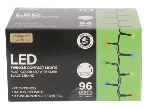 Designers Excellence 96 Multi LED Twinkle Light String with Timer/Remote Battery Operated Black Wire