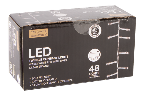 Designers Excellence 48 LED Twinkle Lights with Timer/Remote Battery Operated Clear Wire