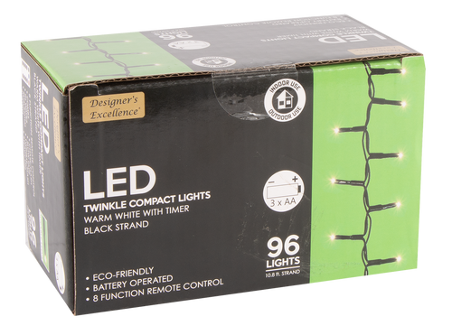 Designers Excellence 96 LED Twinkle Lights with Timer/Remote Battery Operated Black Wire