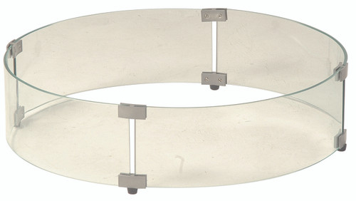 Round Glass Guard for Gas Fire Pit with Round Crystal Fire Burner
