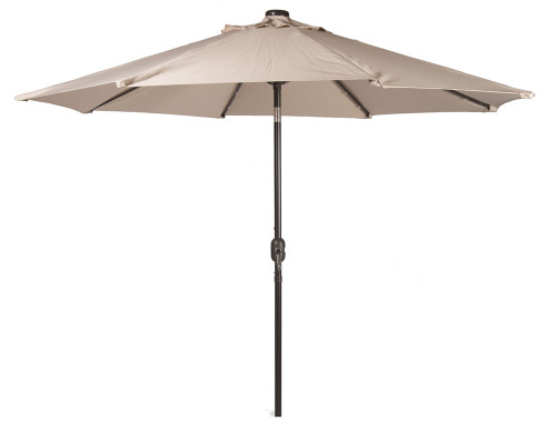 9' Crank Solar Umbrella with Metal Pole in Taupe