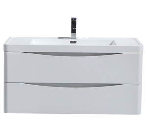 """SMILE 40"""" HIGH GLOSS WHITE WALL MOUNTED MODERN BATHROOM VANITY W/ 2 DRAWERS AND REINFORCED ACRYLIC SINK"""