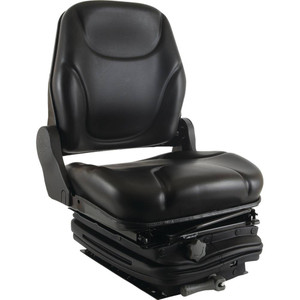 Mechanical Suspension Black Vinyl Seat with a Sliding Base