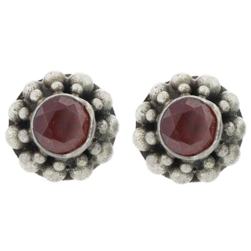 Bali Garnet Stud Earrings
