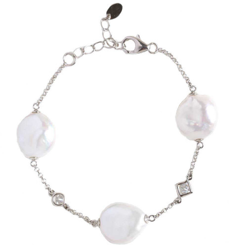 Pearl And Zircon Chain Bracelet