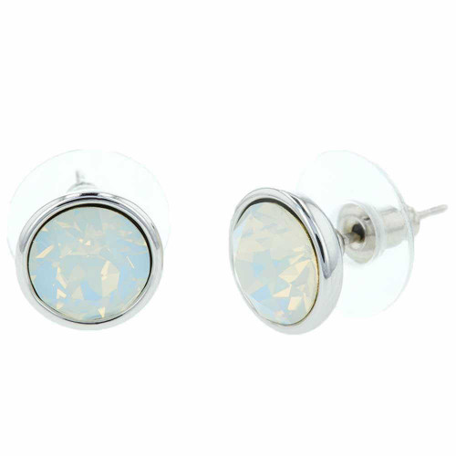 Opalite Bali White Crystal Stud Rhodium Earrings