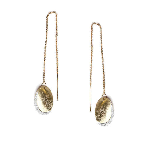 Threader Brushed Drop Earrings