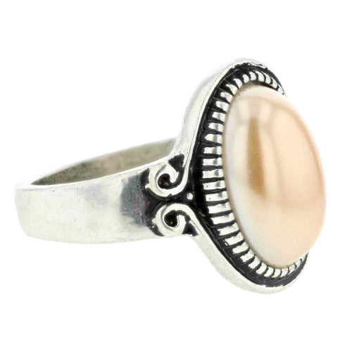 Imitation Etched Tan Pearl Ring