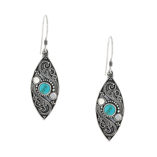 Bali 925 Silver Turquoise Marquise Earrings