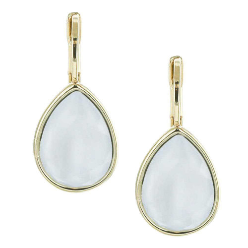 Powder Blue Teardrop Earrings Gold Plated