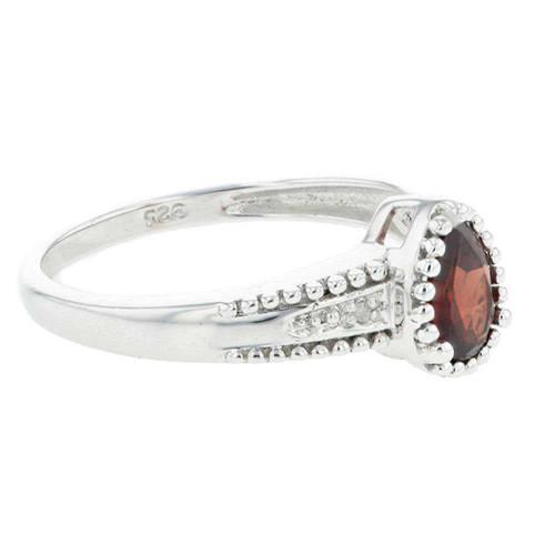 Garnet Solitaire Silver Ring with Accents