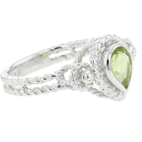 Dazzling Peridot Solitaire Accent Ring