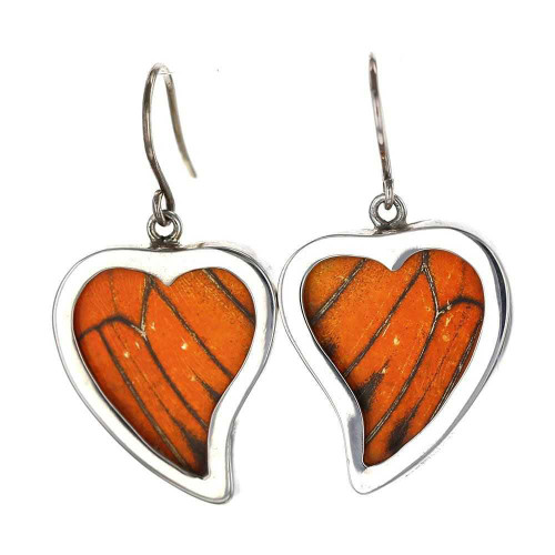 Monarch Butterfly Curly Heart Earrings