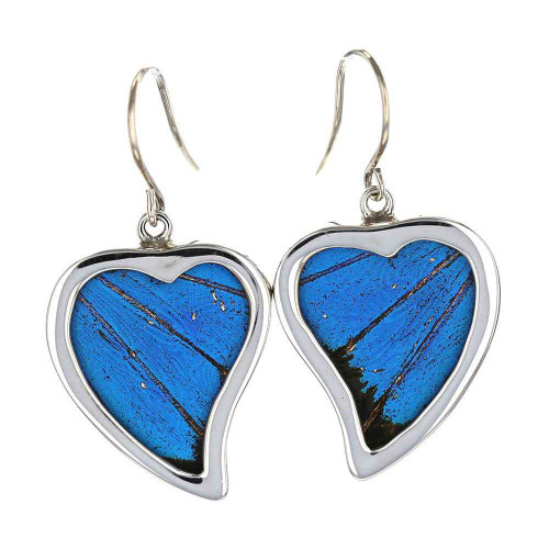 Blue Morpho Curly Heart Earrings