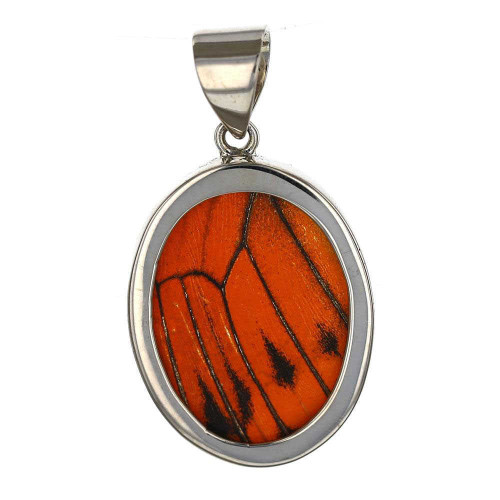 Monarch Butterfly Oval Silver Pendant