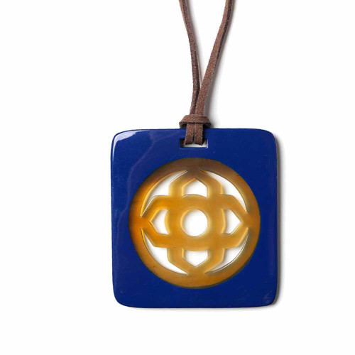 Blue Tribal Emblem Necklace