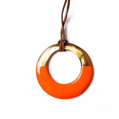Orange Tribal Circle Necklace