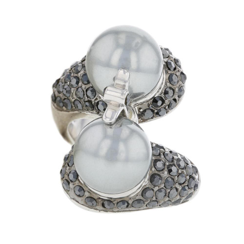Silver Plated Gun Metal Grey Pearl Statement Ring