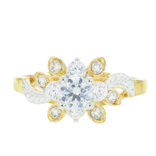 CZ Gold Plated Solitaire Ring
