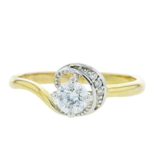 CZ Gold Plated Solitaire Ring Size 8.5
