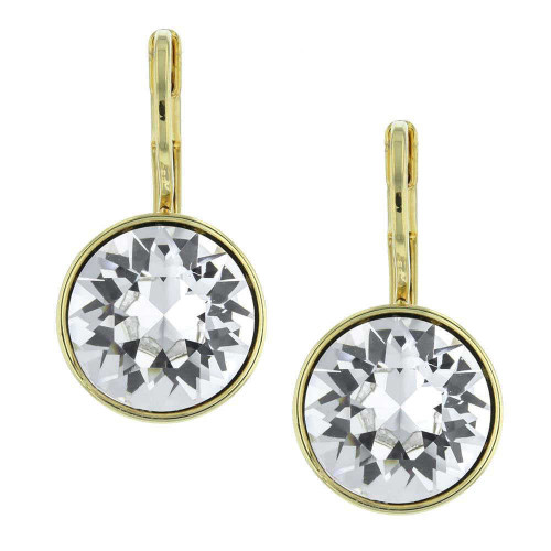 Quest White Crystal Gold Earrings
