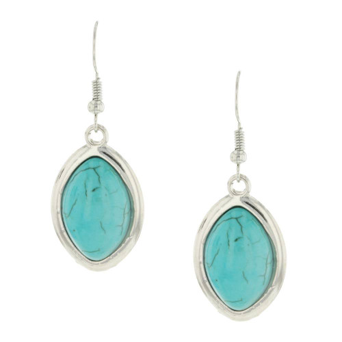Aqua Oval Turquoise Earrings