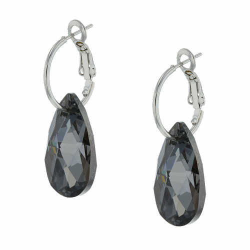 Black Licorice Rock Candy Rhodium Earrings
