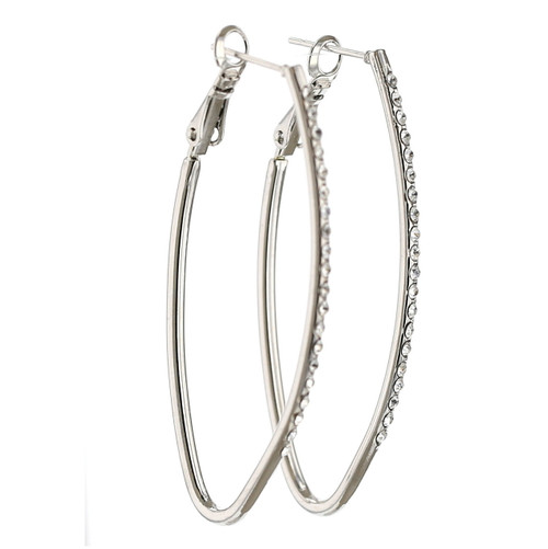 Geometric Rhodium Hoop Earrings