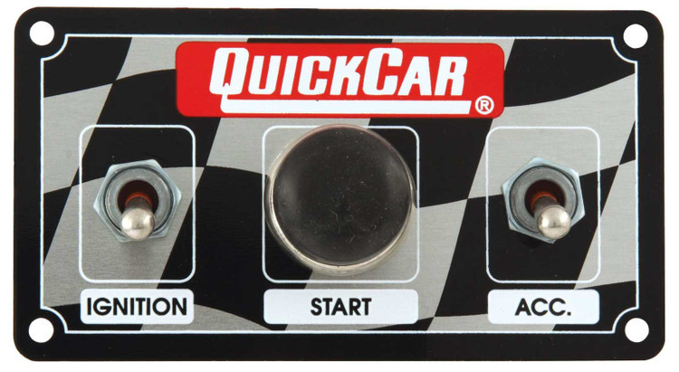 Switch Panel - Dash Mount - 4-5/8 in x 2-1/2 in - 2 Toggles/1 Momentary Push Button - 3 Wheel Brake Switch Harness - Aluminum - Each