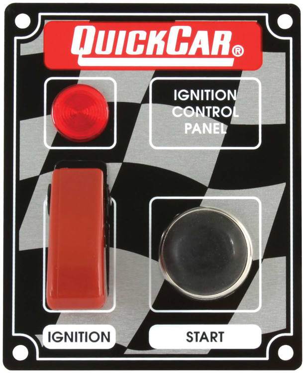 Switch Panel - Dash Mount - 3-3/8 in x 4-1/4 in - 1 Safety Cover Toggle/1 Momentary Push Button - Warning Light - Aluminum - Each