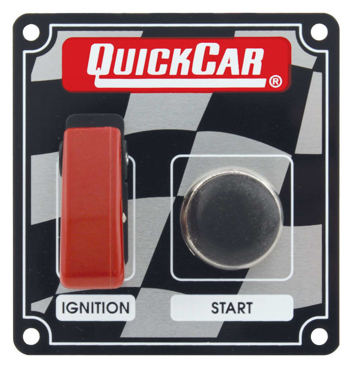 Switch Panel - Dash Mount - 3-3/8 in x 3-5/8 in - 1 Safety Cover Toggle/1 Momentary Push Button - Aluminum - Each