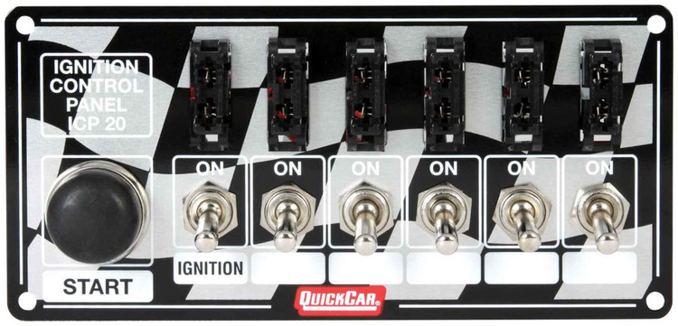 Switch Panel - Dash Mount - 6-7/8 in x 3-1/4 in - 6 Toggles/1 Momentary Push Button - Fused - Aluminum - Each