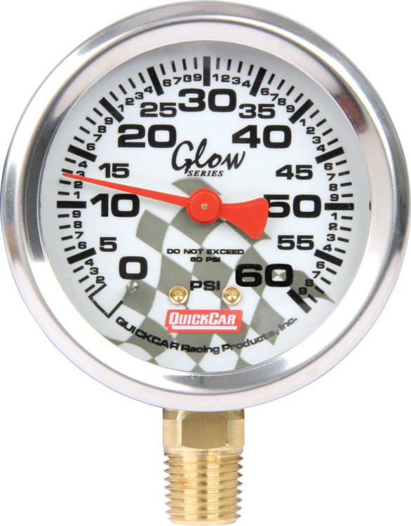 Tire Pressure Gauge Head - 0-60 psi - Glo - Quickcar Tire Pressure Gauges - Each